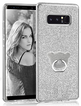 Eiroo Silvery Samsung Galaxy Note 8 Simli Selfie Yüzüklü Silver Silikon Kılıf