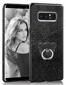 Eiroo Silvery Samsung Galaxy Note 8 Simli Selfie Yüzüklü Siyah Silikon Kılıf