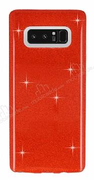 Eiroo Silvery Samsung Galaxy Note 8 Simli Kırmızı Silikon Kılıf