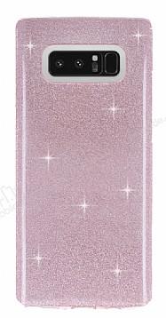 Eiroo Silvery Samsung Galaxy Note 8 Simli Pembe Silikon Kılıf