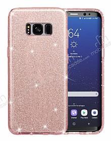 Eiroo Silvery Samsung Galaxy S8 Plus Simli Pembe Silikon Kılıf