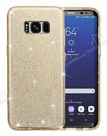 Eiroo Silvery Samsung Galaxy S8 Simli Gold Silikon Kılıf