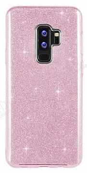 Eiroo Silvery Samsung Galaxy S9 Plus Simli Pembe Silikon Kılıf