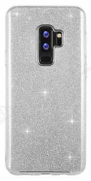 Eiroo Silvery Samsung Galaxy S9 Plus Simli Silver Silikon Kılıf