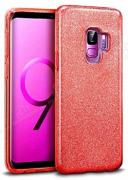 Eiroo Silvery Samsung Galaxy S9 Simli Kırmızı Silikon Kılıf