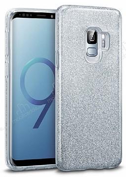 Eiroo Silvery Samsung Galaxy S9 Simli Silver Silikon Kılıf