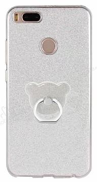 Eiroo Silvery Xiaomi Mi 5X / Mi A1 Simli Selfie Yüzüklü Silver Silikon Kılıf