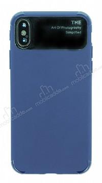 Eiroo Simplified iPhone X Lacivert Silikon Kılıf