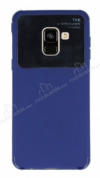 Eiroo Simplified Samsung Galaxy A8 2018 Lacivert Silikon Kılıf