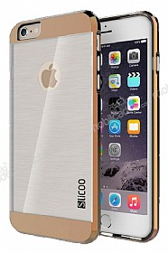 Eiroo Slicoo iPhone 6 Plus / 6S Plus Rose Gold Metalik Kenarlı Şeffaf Silikon Kılıf