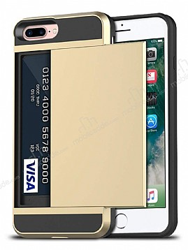 Eiroo Sliding Card iPhone 7 Plus / 8 Plus Ultra Koruma Gold Kılıf