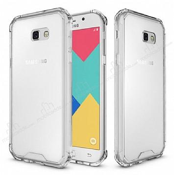 Eiroo Slim Hybrid Samsung Galaxy A7 2017 Silikon Kenarlı Şeffaf Rubber Kılıf