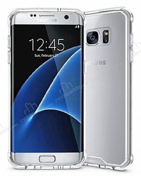 Eiroo Slim Hybrid Samsung Galaxy S7 Silikon Kenarlı Şeffaf Rubber Kılıf