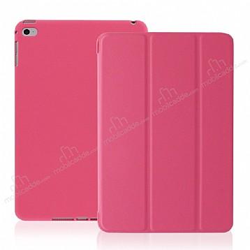 Eiroo Smart iPad Mini / Mini 2 / Mini 3 Kapaklı Pembe Deri Kılıf