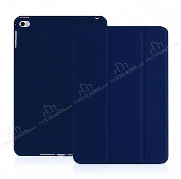 Eiroo Smart iPad Mini / Mini 2 / Mini 3 Kapaklı Lacivert Deri Kılıf