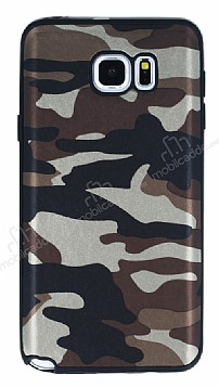 Eiroo Soldier Samsung Galaxy Note 5 Kahverengi Silikon Kılıf