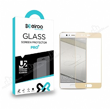Eiroo Huawei P10 Lite Tempered Glass Full Gold Cam Ekran Koruyucu