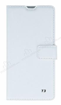 Eiroo Sony Xperia T3 Cüzdanlı Yan Kapaklı Beyaz Deri Kılıf