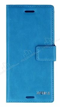 Eiroo Sony Xperia X Cüzdanlı Yan Kapaklı Mavi Deri Kılıf