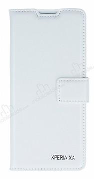 Eiroo Sony Xperia XA Cüzdanlı Yan Kapaklı Beyaz Deri Kılıf