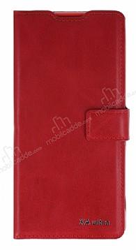Eiroo Sony Xperia XA Ultra Cüzdanlı Yan Kapaklı Kırmızı Deri Kılıf