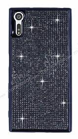 Eiroo Sony Xperia XZ Taşlı Siyah Silikon Kılıf