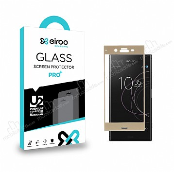 Eiroo Sony Xperia XZ1 Curve Tempered Glass Full Gold Cam Ekran Koruyucu