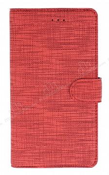 Eiroo Tabby Samsung Galaxy A7 2018 Cüzdanlı Kapaklı Kırmızı Deri Kılıf