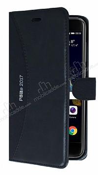 Eiroo Thunder Huawei P9 Lite 2017 Standlı Cüzdanlı Siyah Deri Kılıf