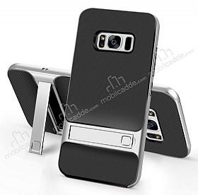 Eiroo Tiger Power Samsung Galaxy S8 Plus Standlı Ultra Koruma Silver Kılıf