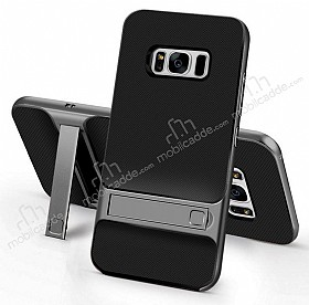 Eiroo Tiger Power Samsung Galaxy S8 Plus Standlı Ultra Koruma Gun Black Kılıf