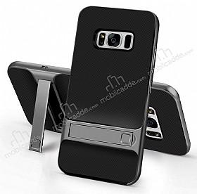 Eiroo Tiger Power Samsung Galaxy S8 Plus Standlı Ultra Koruma Gun Black Kılıf