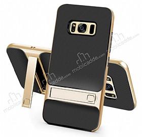 Eiroo Tiger Power Samsung Galaxy S8 Standlı Ultra Koruma Gold Kılıf