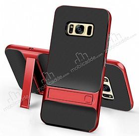 Eiroo Tiger Power Samsung Galaxy S8 Standlı Ultra Koruma Kırmızı Kılıf