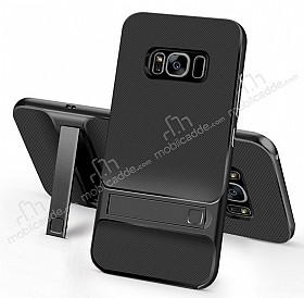 Eiroo Tiger Power Samsung Galaxy S8 Standlı Ultra Koruma Siyah Kılıf