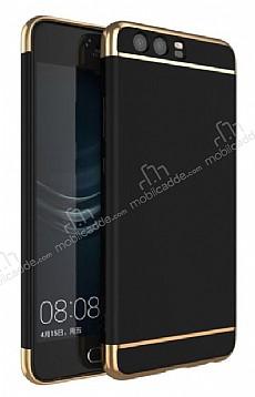 Eiroo Trio Fit Huawei P10 3ü 1 Arada Gold Kenarlı Siyah Rubber Kılıf