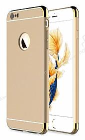 Eiroo Trio Fit iPhone 6 / 6S 3ü 1 Arada Gold Kenarlı Gold Rubber Kılıf