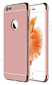 Eiroo Trio Fit iPhone 6 / 6S 3ü 1 Arada Gold Kenarlı Rose Gold Rubber Kılıf