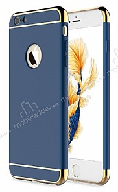 Eiroo Trio Fit iPhone 6 / 6S 3ü 1 Arada Gold Kenarlı Lacivert Rubber Kılıf