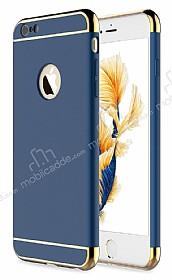 Eiroo Trio Fit iPhone 6 Plus / 6S Plus 3ü 1 Arada Gold Kenarlı Lacivert Rubber Kılıf
