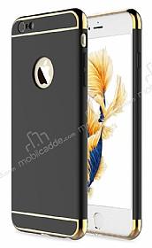 Eiroo Trio Fit iPhone 6 Plus / 6S Plus 3ü 1 Arada Gold Kenarlı Siyah Rubber Kılıf