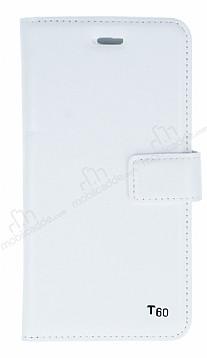 Eiroo Turkcell T60 Cüzdanlı Yan Kapaklı Beyaz Deri Kılıf