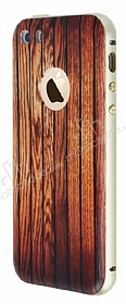Eiroo Wooden iPhone SE / 5 / 5S Metal Kenarl� Kahverengi Rubber K�l�f