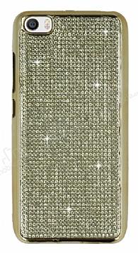 Eiroo Xiaomi Mi 5 Taşlı Gold Silikon Kılıf