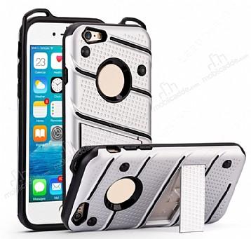 Eiroo Zag Armor iPhone 6 / 6S Standlı Ultra Koruma Silver Kılıf