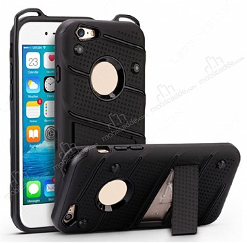 Eiroo Zag Armor iPhone 6 Plus / 6S Plus Standlı Ultra Koruma Siyah Kılıf