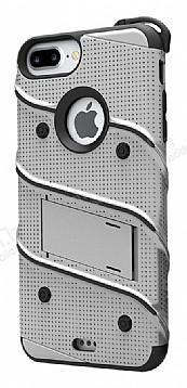 Eiroo Zag Armor iPhone 7 Plus / 8 Plus Standlı Ultra Koruma Silver Kılıf