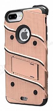 Eiroo Zag Armor iPhone 7 Plus / 8 Plus Standlı Ultra Koruma Gold Kılıf