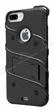 Eiroo Zag Armor iPhone 7 Plus Standlı Ultra Koruma Siyah Kılıf