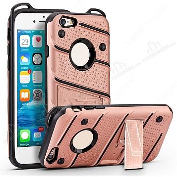 Eiroo Zag Armor iPhone 7 Standlı Ultra Koruma Rose Gold Kılıf